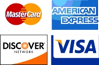 We accept Visa, MC, Discover, Amex